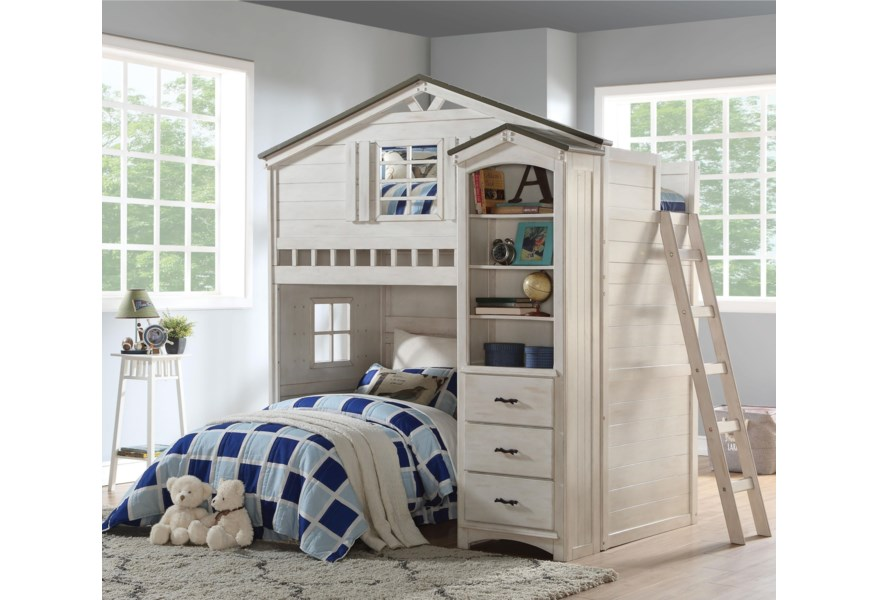 Acme Furniture Tree House 37165 Vintage Farmhouse Twin Playhouse Loft Bed With Desk Del Sol Furniture Loft Beds