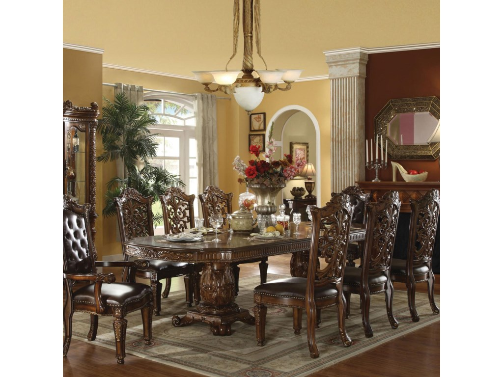 Acme furniture vendometraditional dining table and chair set