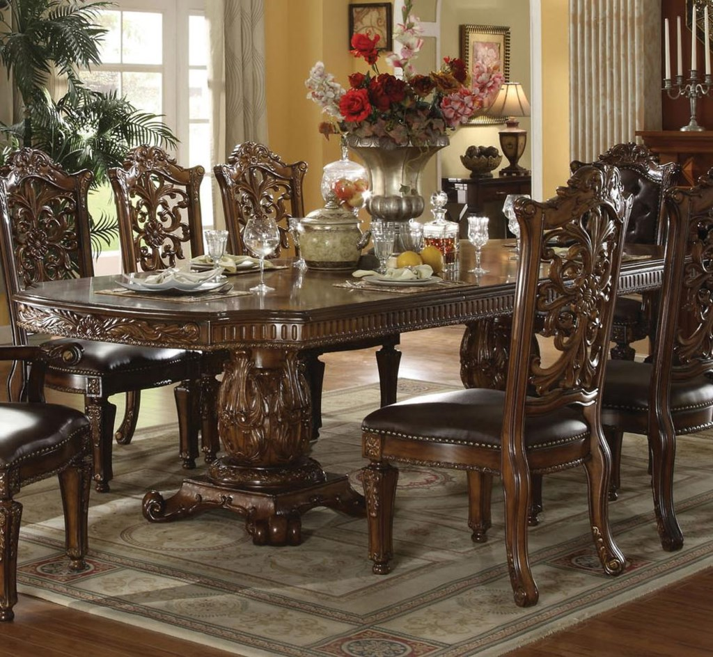 Traditional Wood Dining Tables acme furniture vendome traditional formal dining table - del sol