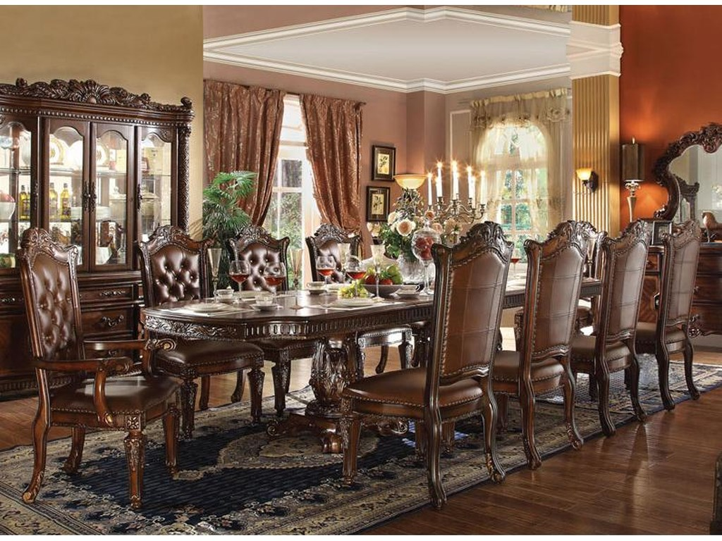 cd0ff043fe35e2 Acme Furniture Vendome 11 Piece Double Pedestal Table and Chairs Set ...
