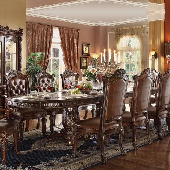 Acme Furniture Vendome Double Pedestal Dining Table   Household Furniture   Dining  Tables