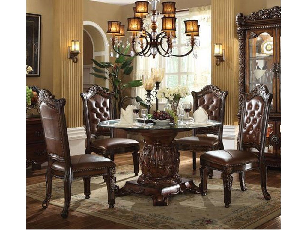 4af9b8f7ffe728 Acme Furniture Vendome 5 Piece Single Pedestal Table and Chairs Set ...