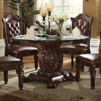 acme furniture vendome pedestal dining table with tempered glass