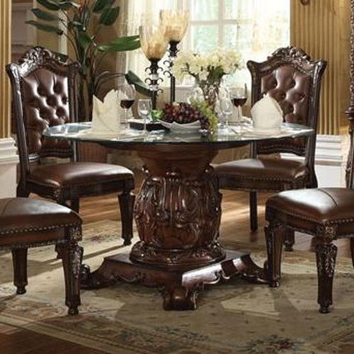 Acme Furniture Vendome Pedestal Dining Table with Tempered Glass ...