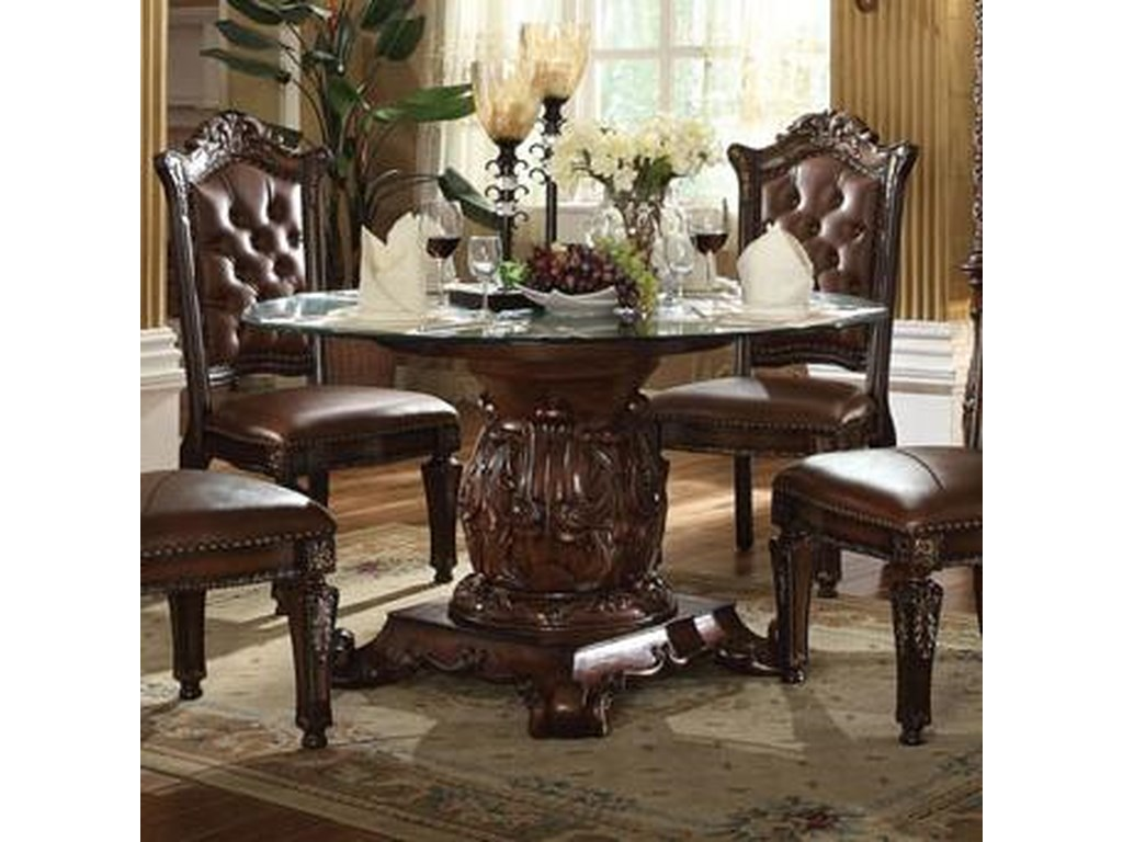 Acme Furniture Vendomepedestal Dining Table With Gl Top