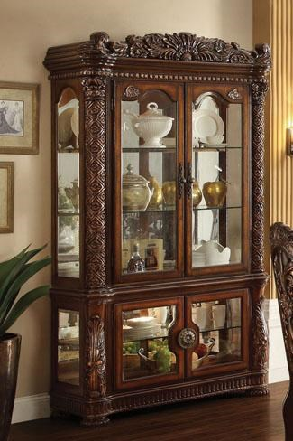 Acme Furniture Vendome Curio Cabinet With Glass Doors And Mirrored Back    Del Sol Furniture   Curio Cabinets