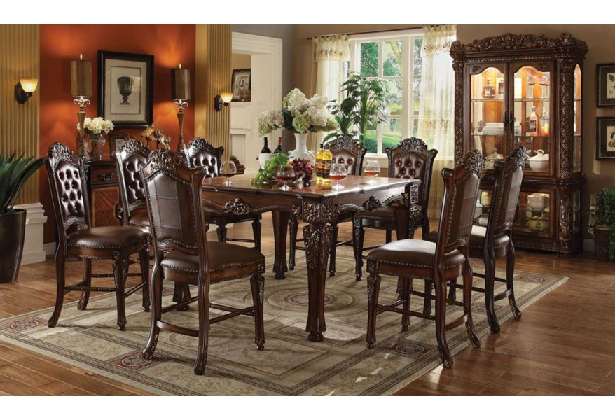 Acme Furniture Vendome 62025 Counter Height Dining Table With Carved Legs Del Sol Furniture Pub Tables