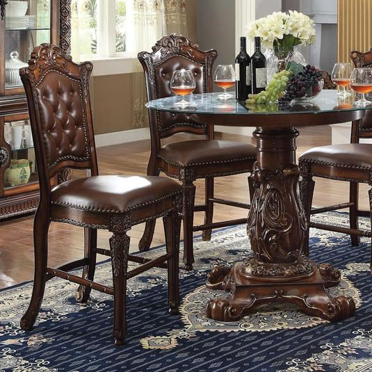 acme furniture vendome counter height chair with carved details and tufted back household furniture bar stools