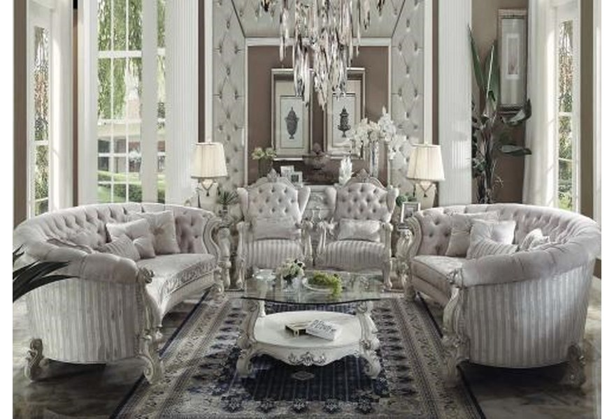 Acme Furniture Versailles Traditional French Provincial Living Room Group 1 Ivory Dream Home Interiors Stationary Living Room Groups