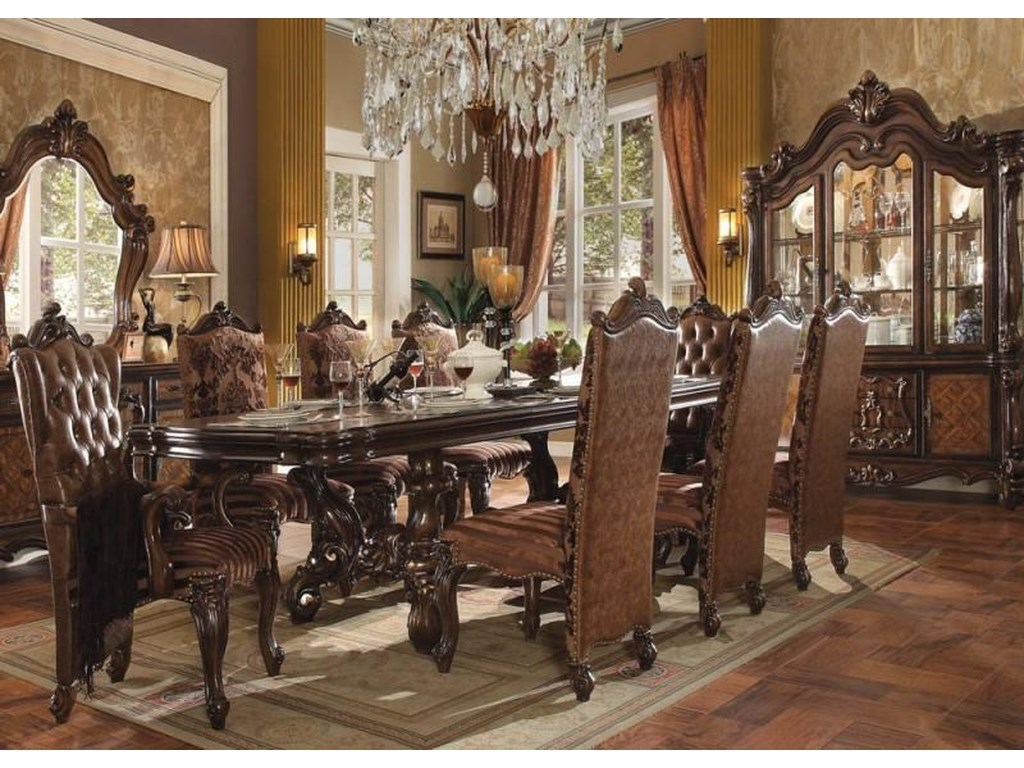Versailles Traditional French Provincial Cherry Oak Dining Room Set w/Leave  by Acme Furniture at Dream Home Interiors