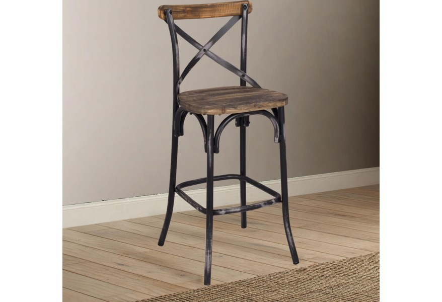Counter Height Bar Stool With Wood Seat