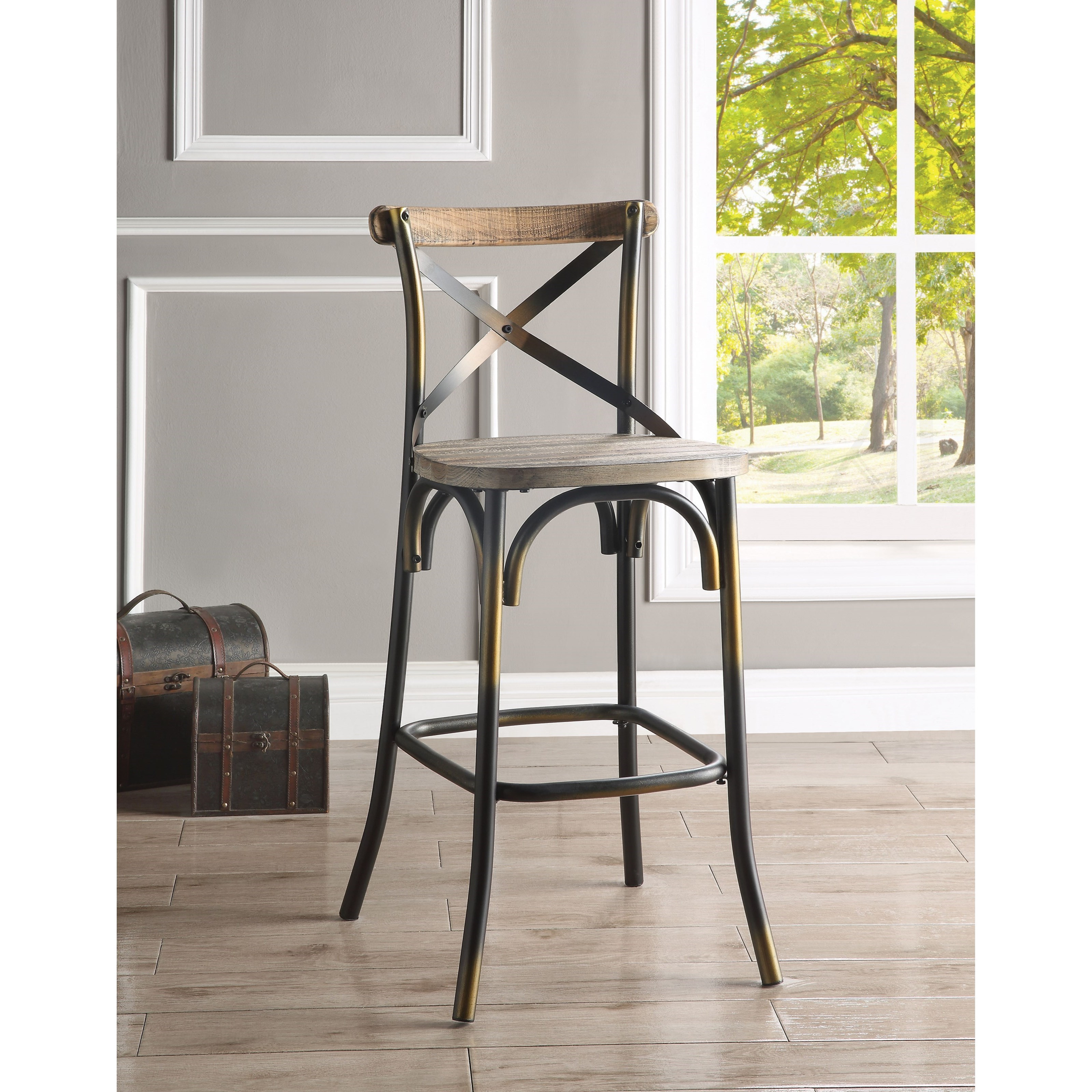 Industrial Metal Counter Height Bar Stool with Wood Seat