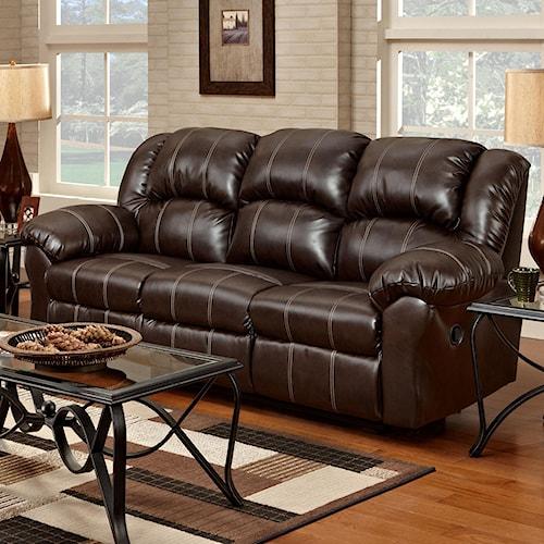 Affordable Furniture 1000 Reclining Sofa with Pub-Back & Saddle Stitching