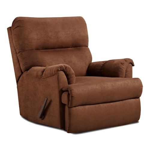 Affordable Furniture 2155 Casual Chaise Rocker Recliner with Rolled Arms