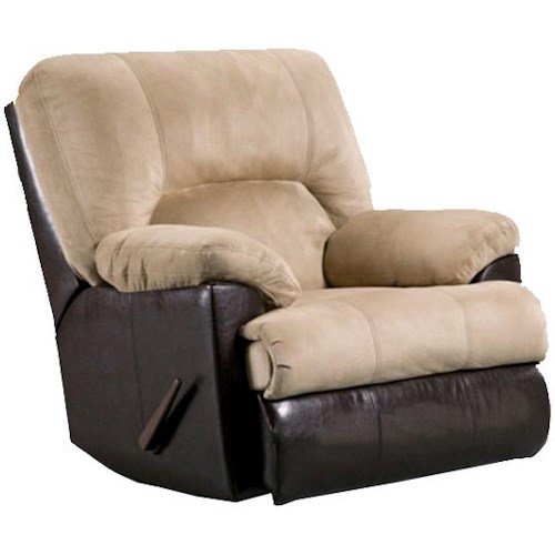 Affordable Furniture 2800 Casual Rocker Recliner with Exterior Handle and Attached Chaise Footrest