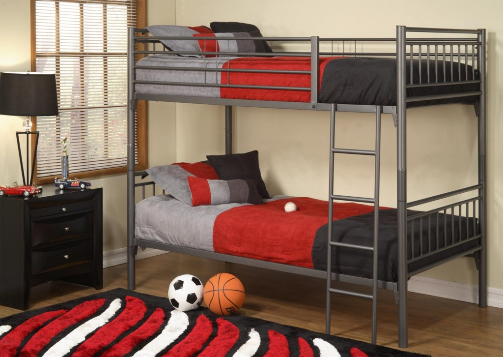 Affordable Furniture Graphite All Metal Twin Over Twin Bunk Bed