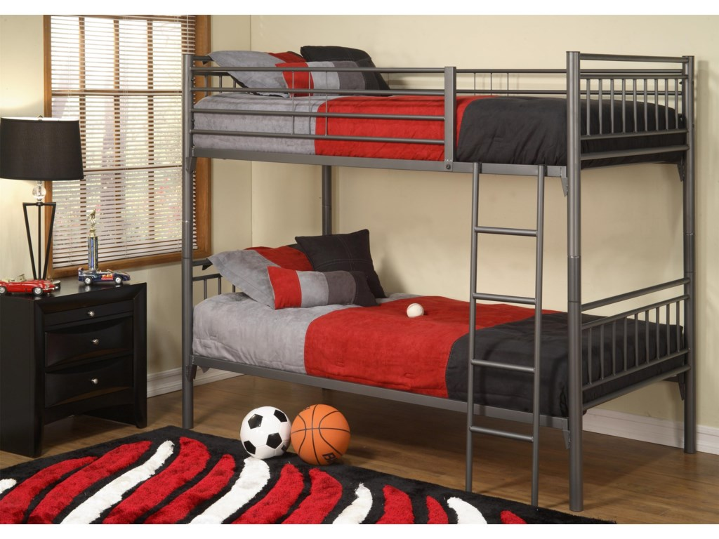 Affordable Furniture GraphiteTwin Over Twin Bunk Bed