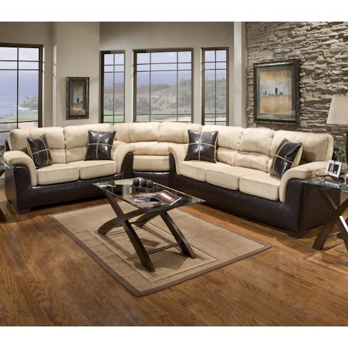 Affordable Furniture 6200 Fabric/Faux Leather Sectional with Wedge