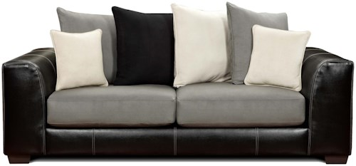 Affordable Furniture 6300 Contemporary Two-Tone Track Arm Sofa