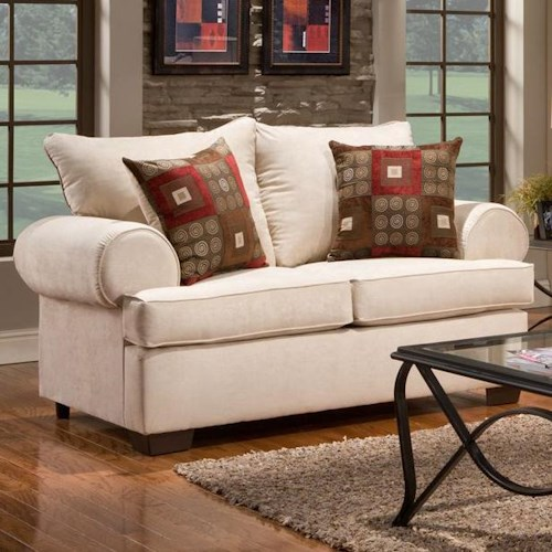 Affordable Furniture 6400 Loveseat with Rolled Arms
