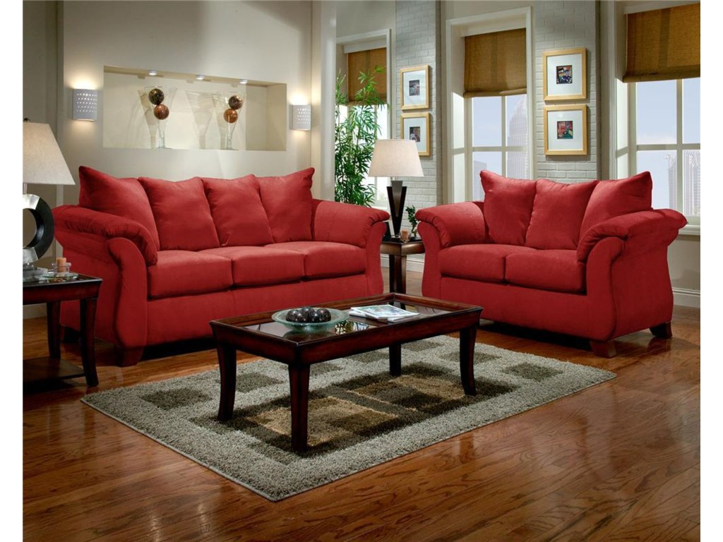 Affordable Furniture 67006700RED SOFA AND LOVESEAT