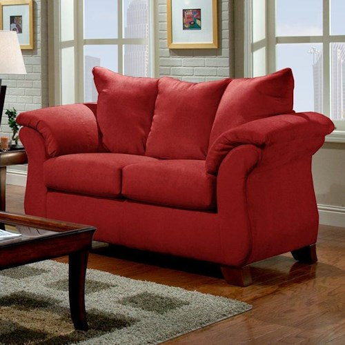 Affordable Furniture 6700 Transitional Flared Pillow Arm Stationary Loveseat