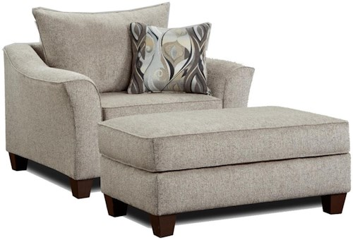 Affordable Furniture 7700 Chair and a Half with Ottoman
