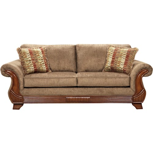 Affordable Furniture 8400 Traditional Sofa with Exposed Wood Rolled Arms