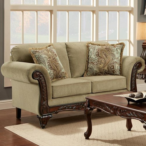 Affordable Furniture 8500 Traditional Loveseat with Rolled Exposed Wood Arms