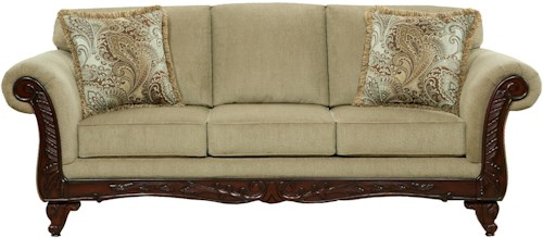 Affordable Furniture 8500 Traditional Sofa with Exposed Wood Rolled Arms