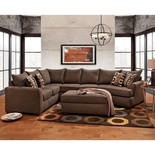 Affordable Furniture Essence Earth Brown Sectional Sofa With Cuddler