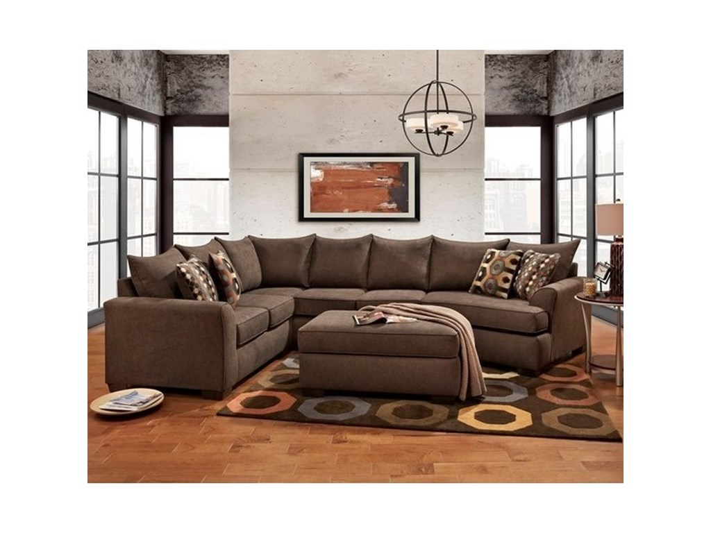 Essence Earth Brown Sectional Sofa With Cuddler By Affordable Furniture