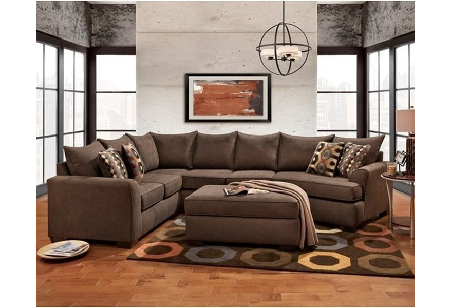Affordable Furniture Essence Earth Brown Sectional Sofa with ...