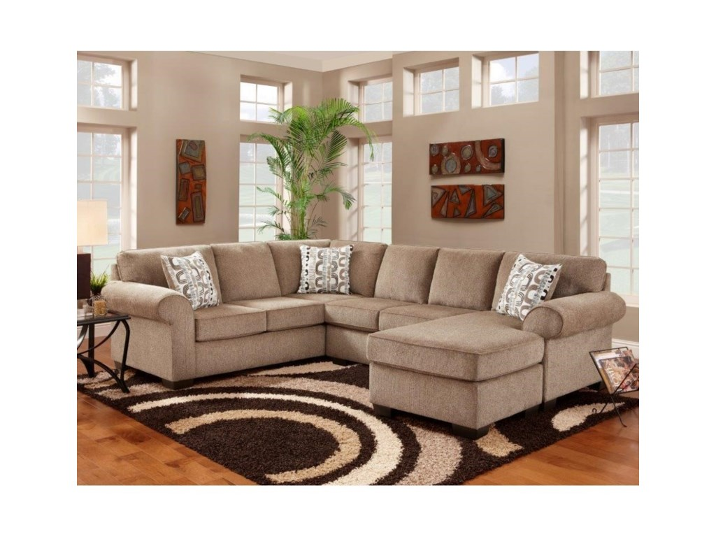 Affordable Furniture Jess Sectional With Floating Chaise Ottoman