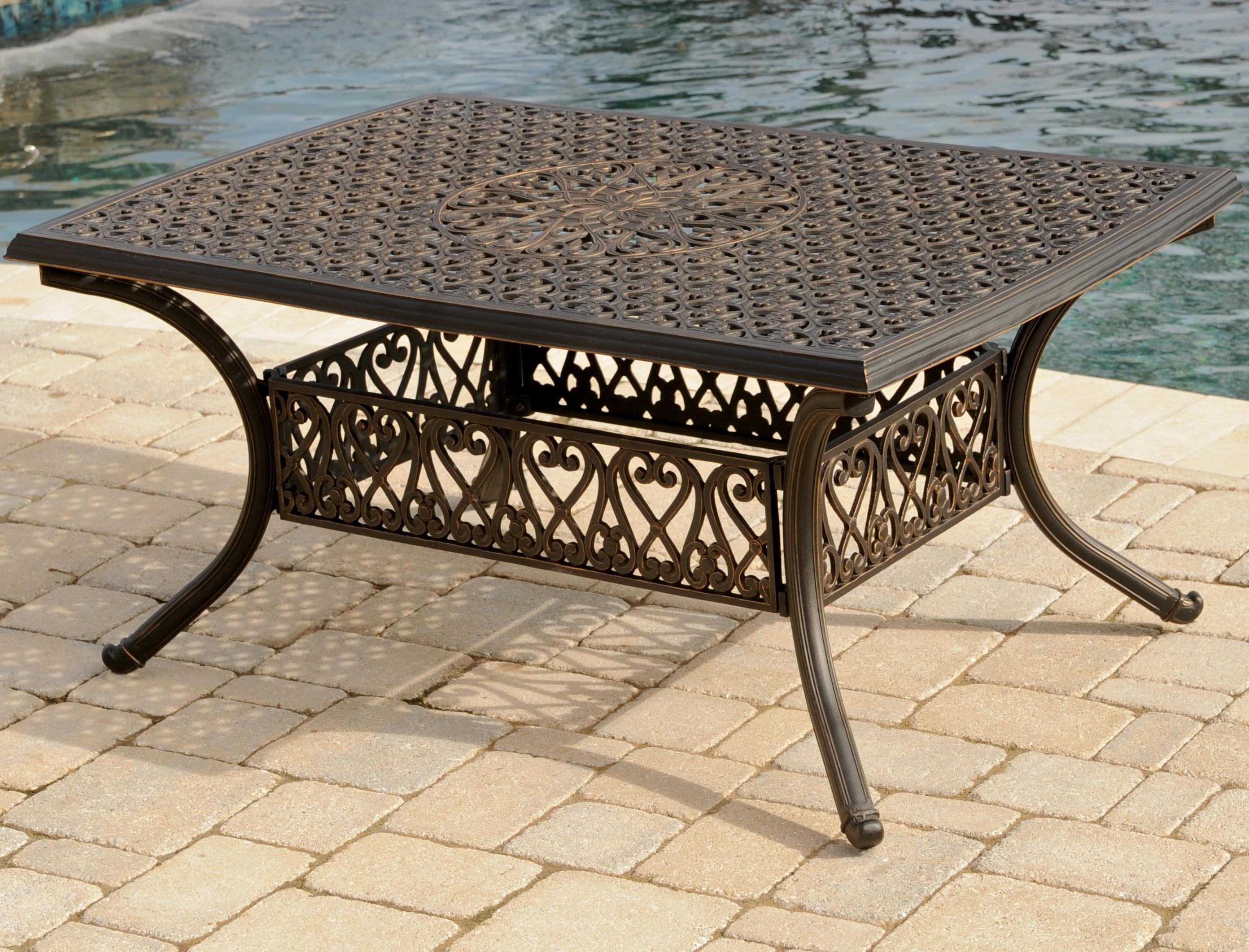 Agio Amalfi Outdoor Alumicast Coffee Table With Ornate Casted Rail