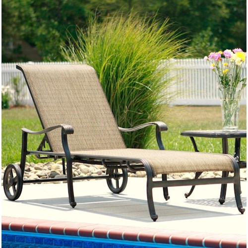 Agio Ashmost Outdoor Chaise Lounge with Wheels and Woven Body Set Against  Cast Aluminum FrameAgio Ashmost Outdoor Chaise Lounge with Wheels and Woven Body Set  . Agio Spring Sling 7 Piece Dining Set. Home Design Ideas