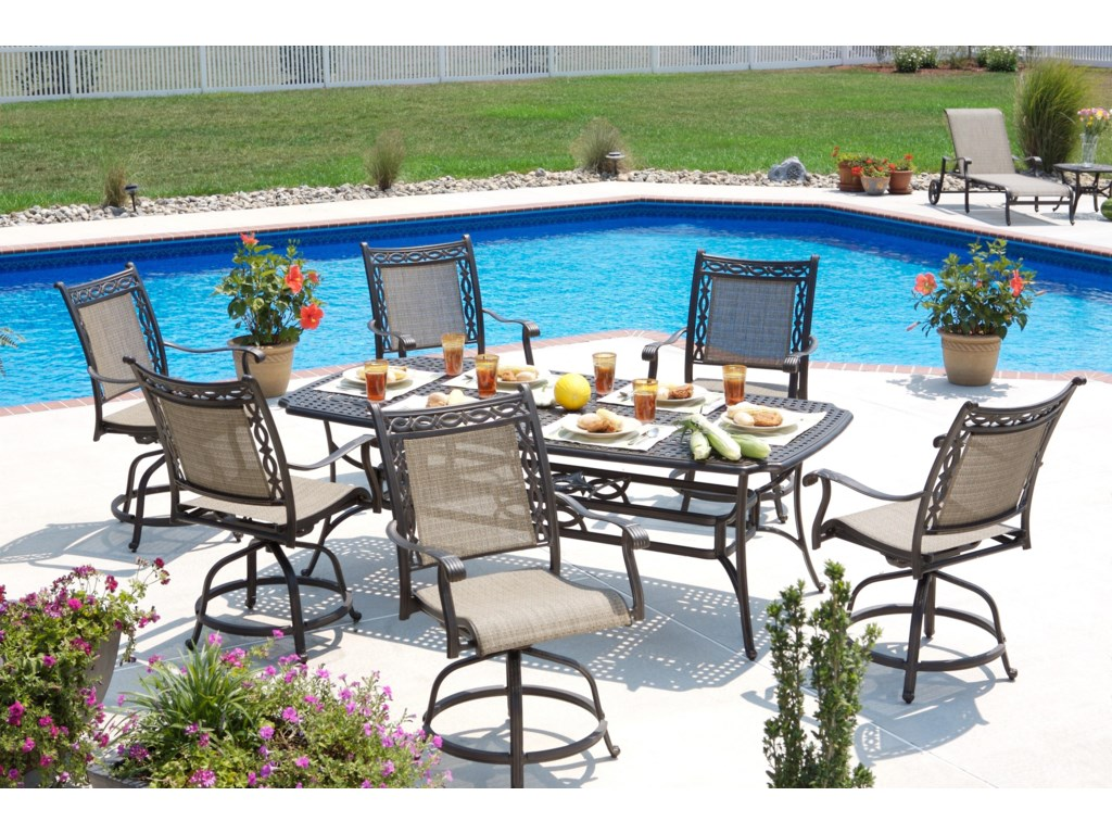 Shown with Sling Balcony Swivel Chairs