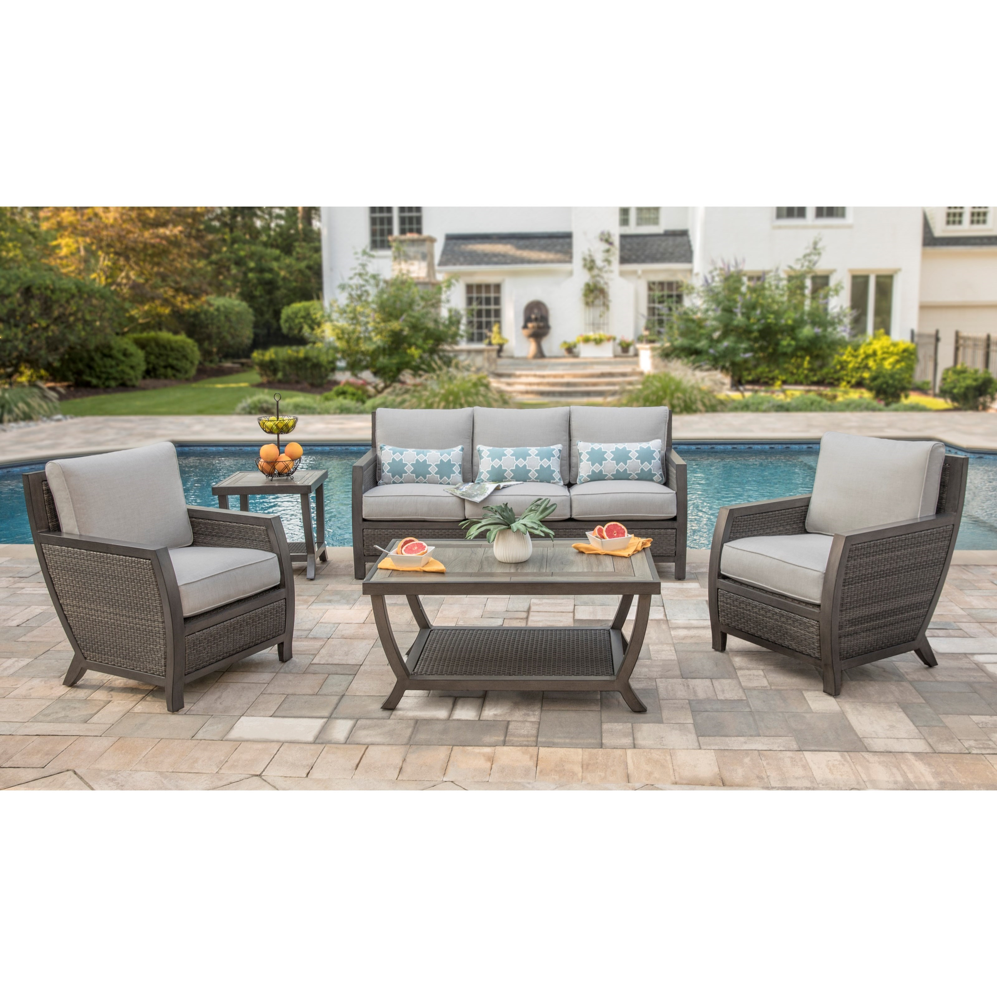 Alfresco Sunstone Contemporary Conversation Set