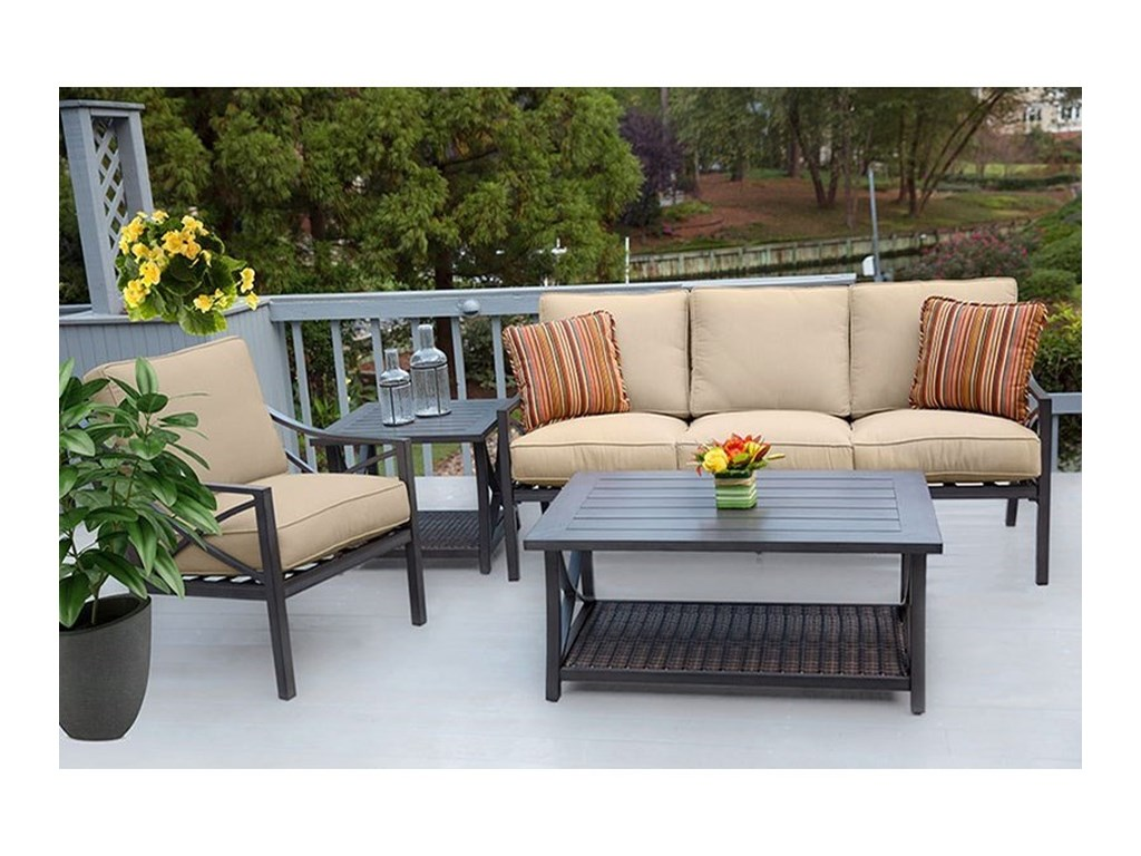 Apricity Outdoor DavenportWoven and Aluminum End Table