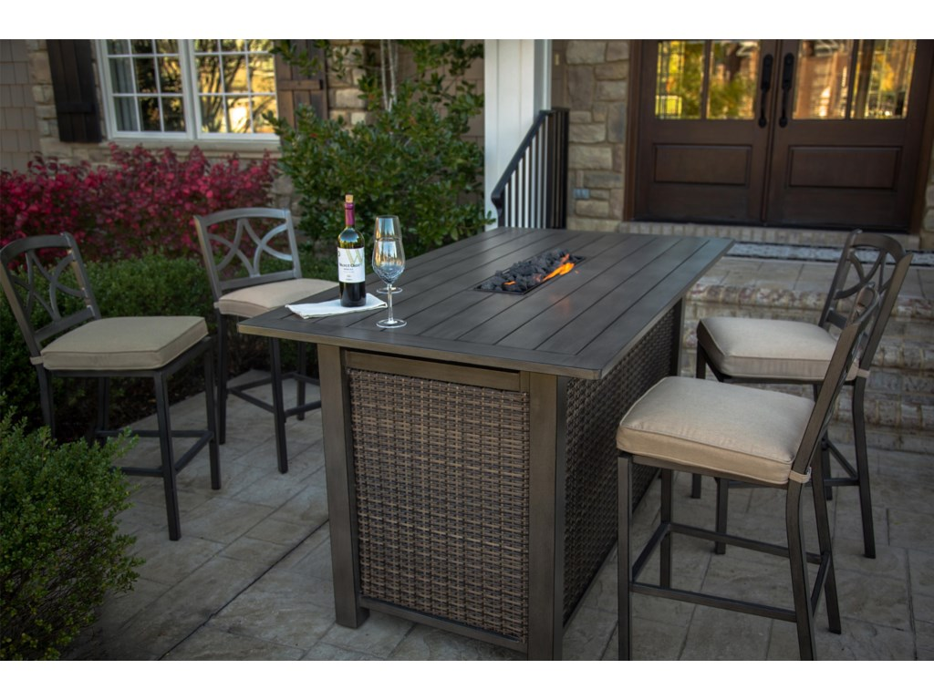 Agio Davenport ARHP Aluminum Bar Height Fire Pit W Slat Top - Outdoor pub table fire pit