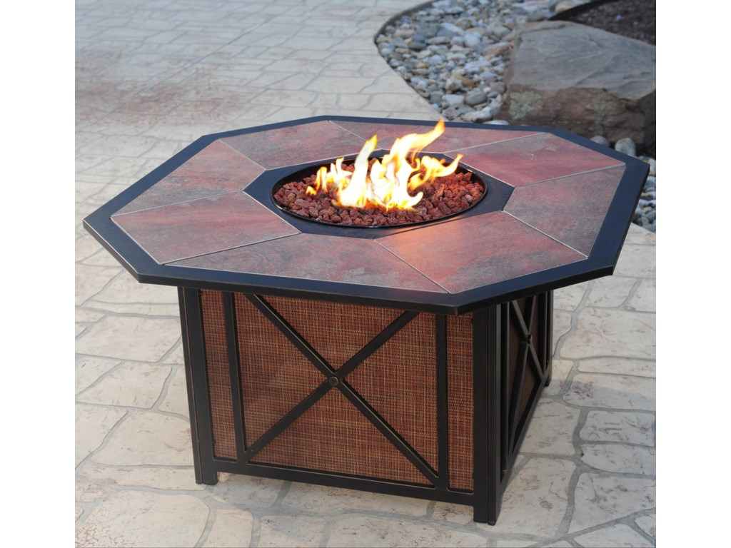 Apricity Outdoor HaywoodAluminum Gas Fire Pit with Inlaid Porcelain