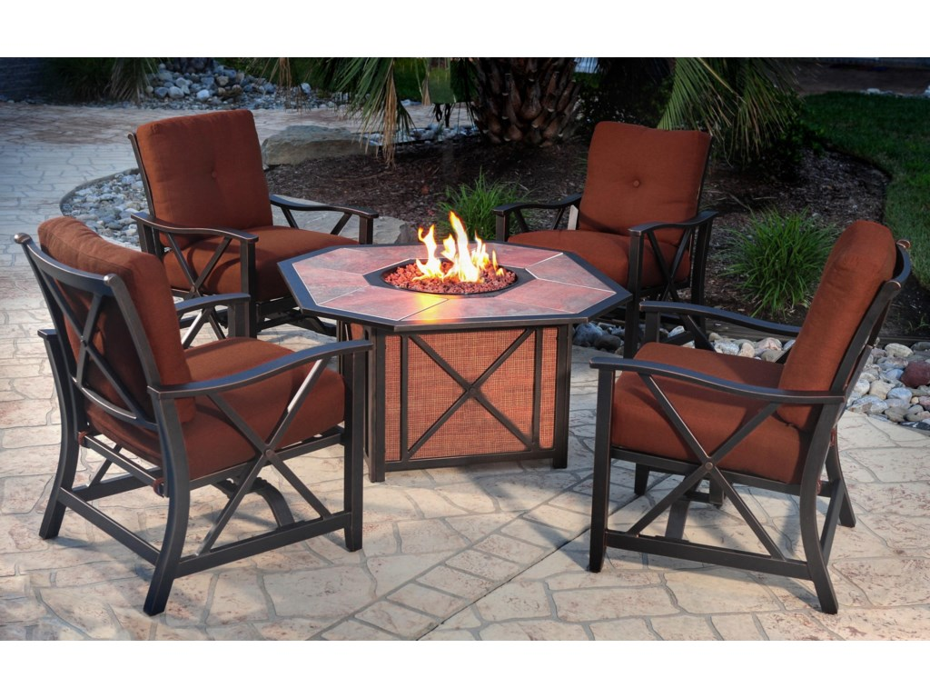 Agio HaywoodAluminum Gas Fire Pit with Inlaid Porcelain