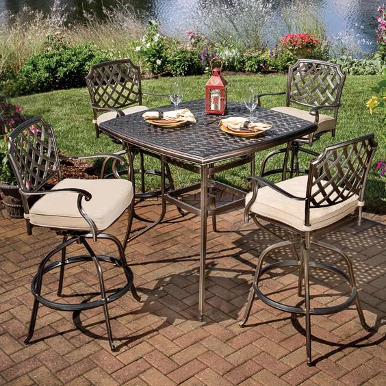 agio heritage 5 pc outdoor pub dining set w swivel stools
