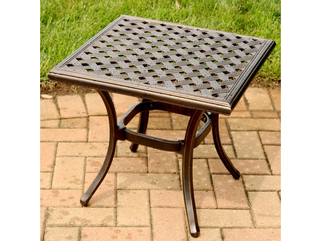 Agio HeritageOutdoor End Table - Agio Heritage Square Alumicast Outdoor End Table With Multi-Step