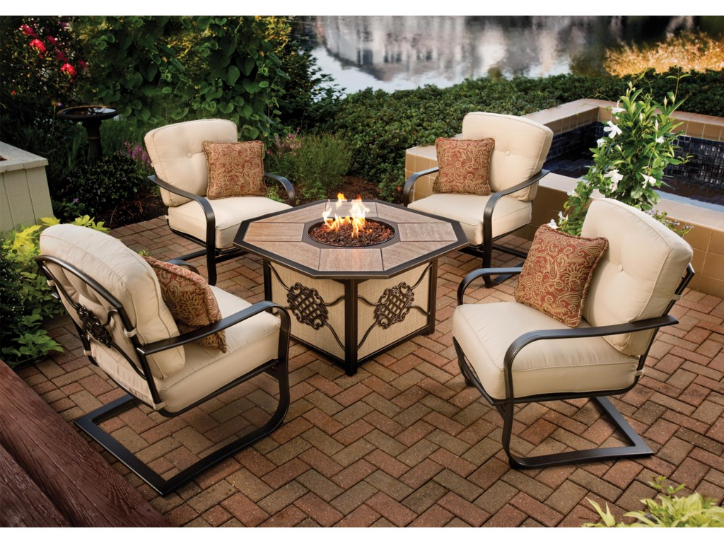Agio heritageoutdoor fire pit chat set