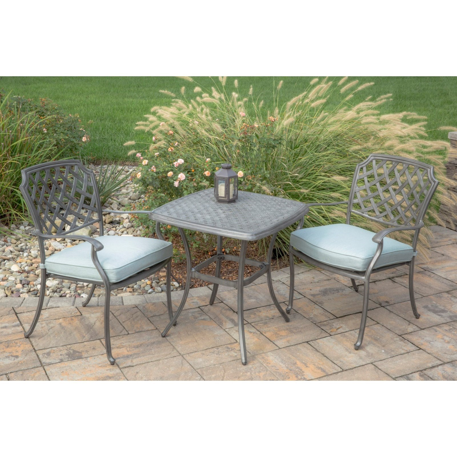 agio melbourne by agio outdoor bistro set with two stationary chairs