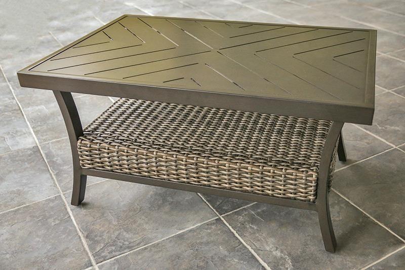 Agio Trenton Woven Slat Top Coffee Table
