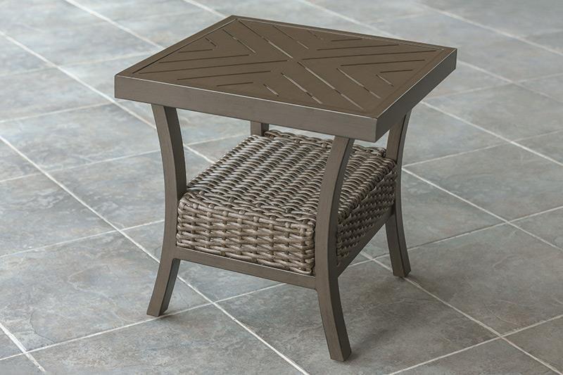 Agio Trenton Woven Slat Top Square End Table