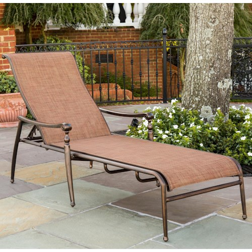 Agio willowbrook traditional aluminum sling chaise for Agio sling chaise lounge
