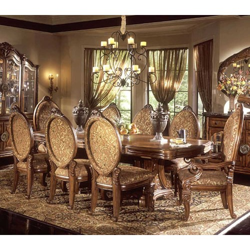 Michael Amini Excelsior Nine Piece Rectangular Table Upholstered Dining Chairs Set